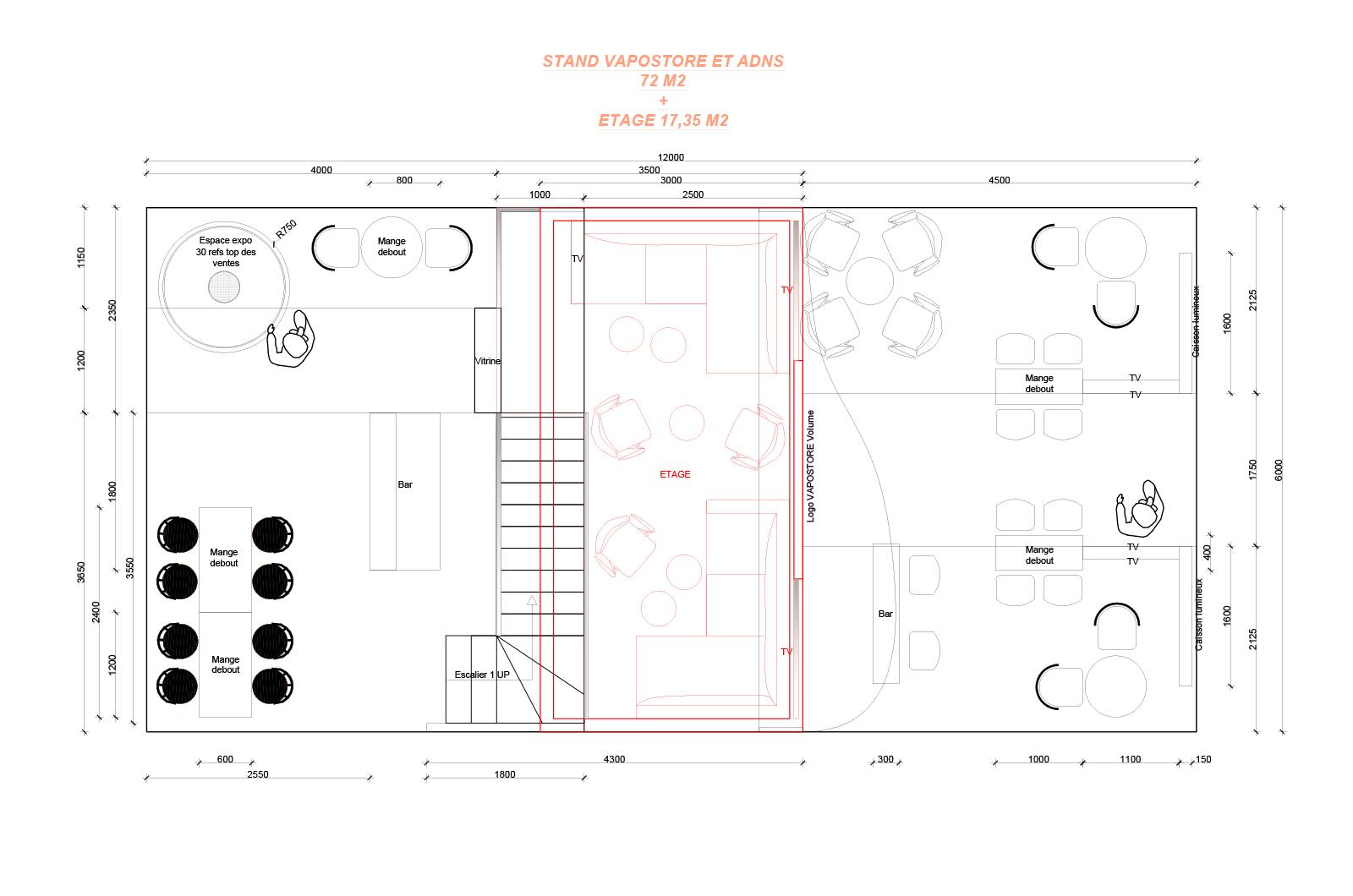 Plan projeté d'agencement / d'aménagement