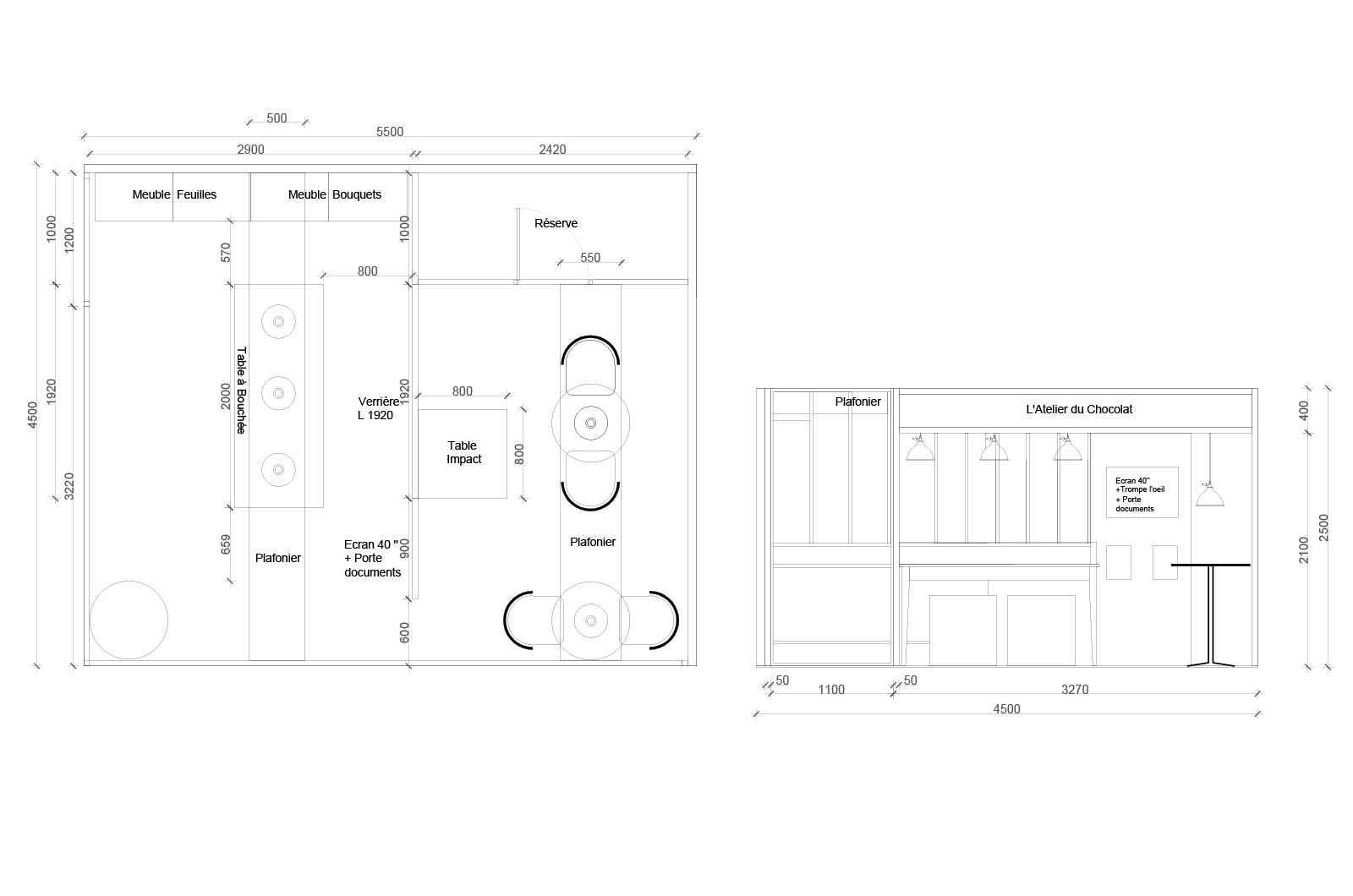 Plan projeté d'agencement/ d'aménagement